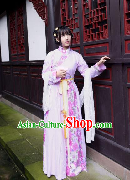 Traditional Ancient Chinese Costume Han Dynasty Princess Blouse and Dress, Elegant Hanfu Clothing Chinese Pink Clothing for Women