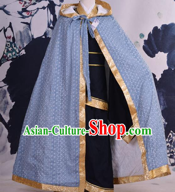 Traditional Ancient Chinese Costume Han Dynasty Prince Cloak, Elegant Hanfu Clothing Chinese Swordsman Blue Cape Clothing for Men