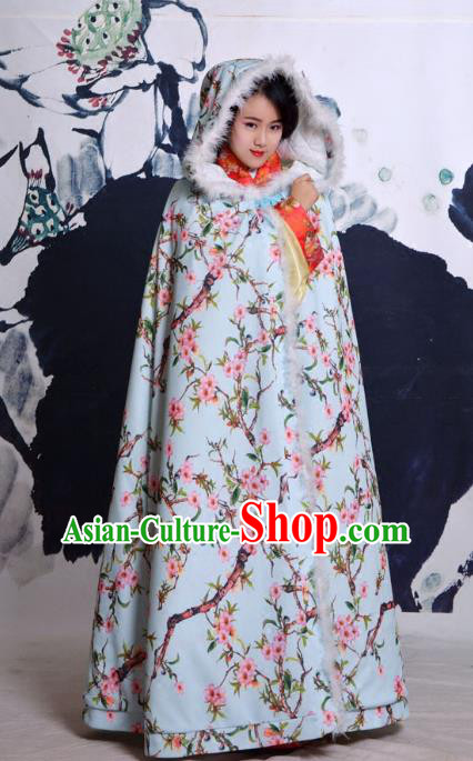 Traditional Ancient Chinese Costume Han Dynasty Princess Cloak, Elegant Hanfu Clothing Chinese Printing Peach Blossom Cape Clothing for Women