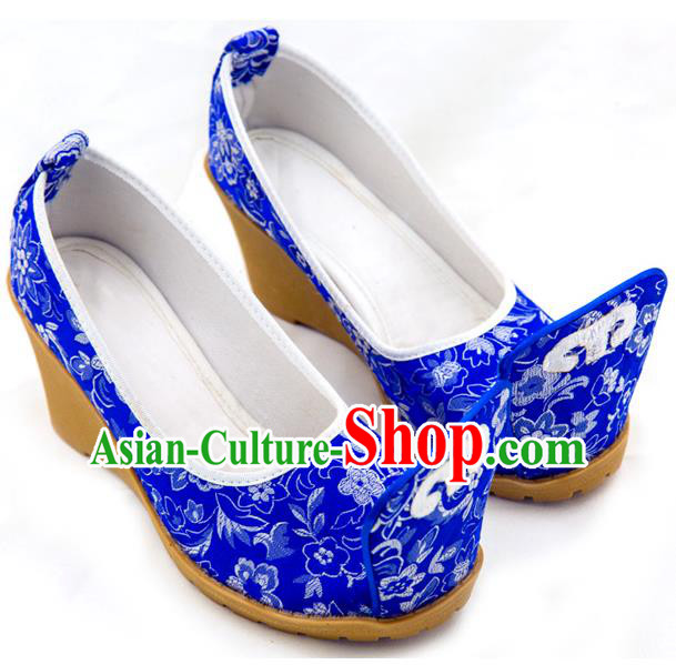 Traditional Chinese Ancient Wedding Cloth Shoes, China Princess Shoes Hanfu Handmade Embroidery Royalblue Become Warped Head Shoe for Women