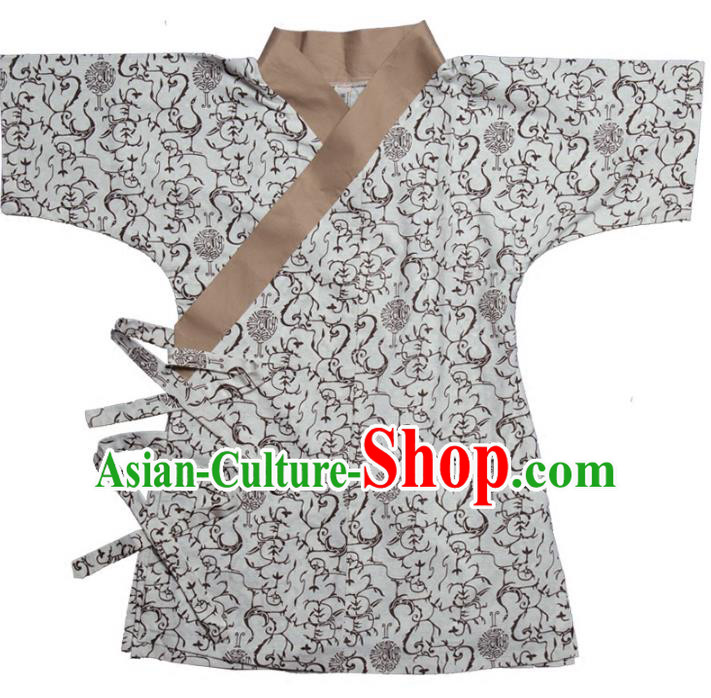 Traditional Chinese Han Dynasty Nobility Childe Hanfu Costume Slant Opening Shirt, China Ancient Martial Arts Upper Garment Clothing for Men