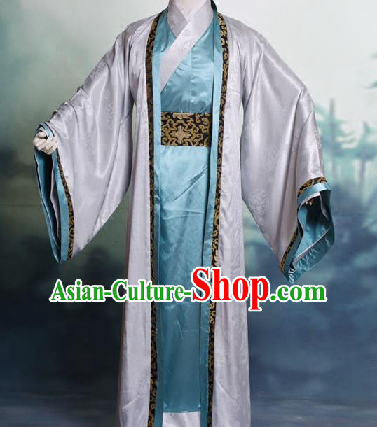 Traditional Chinese Tang Dynasty Nobility Childe Hanfu Costume Half-Arm Shawl Long Robe, China Ancient Scholar Clothing Complete Set for Men