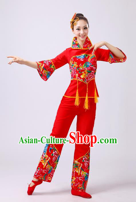 Traditional Chinese Classical Dance Yangge Fan Dance Costume, Folk Dance Drum Dance Clothing Yangko Red Uniform for Women