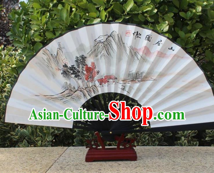 Traditional Chinese Crafts Peking Opera Folding Fan China Sensu Handmade Chinese Painting Mountain Scenery Xuan Paper Fan for Women