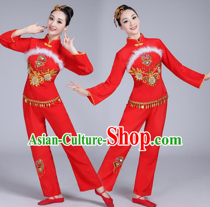 Traditional Chinese Classical Dance Yangge Fan Dance Embroidery Costume, Folk Dance Drum Dance Clothing Yangko Red Uniform for Women