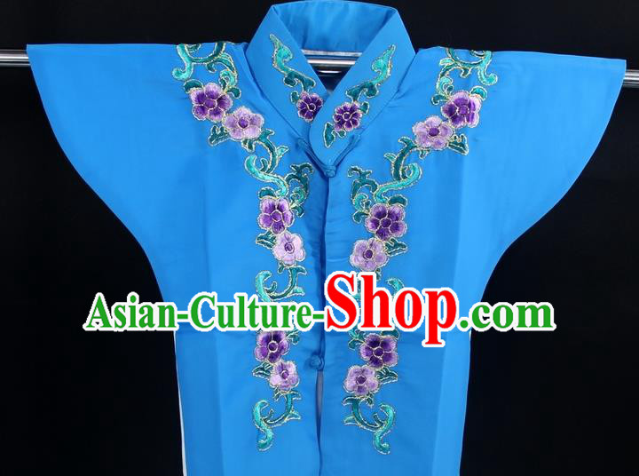 Traditional China Beijing Opera Young Lady Costume Deep Blue Collar Protectors, Ancient Chinese Peking Opera Embroidery Clothing