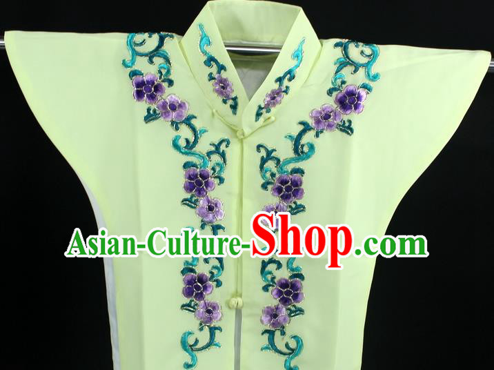 Traditional China Beijing Opera Young Lady Costume Yellow Collar Protectors, Ancient Chinese Peking Opera Embroidery Clothing