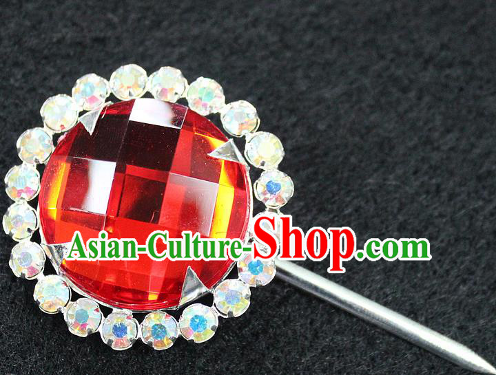 Traditional China Beijing Opera Young Lady Hair Accessories Red Crystal Hairpin, Ancient Chinese Peking Opera Hua Tan Headwear Diva Hairpins