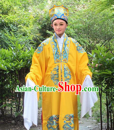 Traditional China Beijing Opera Costume Emperor Embroidered Robe and Headwear Complete Set, Ancient Chinese Peking Opera Embroidery Dragon Gwanbok Clothing