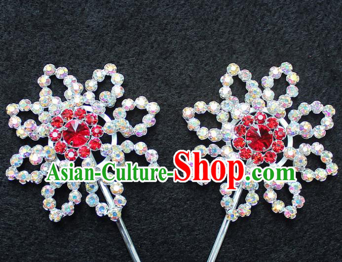 Traditional China Beijing Opera Young Lady Hair Accessories Diva Head-ornaments, Ancient Chinese Peking Opera Hua Tan Headwear Crystal Hairpins