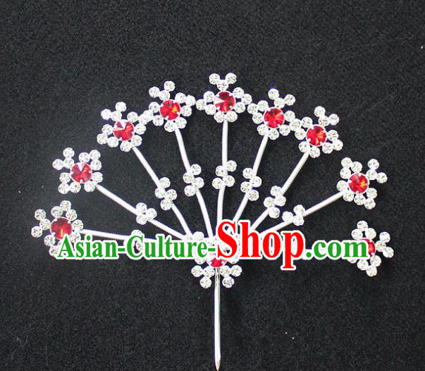 Traditional China Beijing Opera Young Lady Hair Accessories Diva Head-ornaments, Ancient Chinese Peking Opera Hua Tan Headwear Crystal Flowers Hairpins