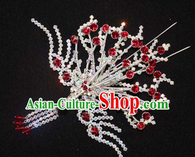 Traditional China Beijing Opera Young Lady Hair Accessories Phoenix Step Shake, Ancient Chinese Peking Opera Hua Tan Headwear Diva Red Crystal Empress Hairpins