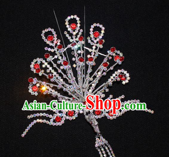Traditional China Beijing Opera Young Lady Hair Accessories Phoenix Tassel Step Shake, Ancient Chinese Peking Opera Hua Tan Headwear Diva Red Crystal Empress Hairpins