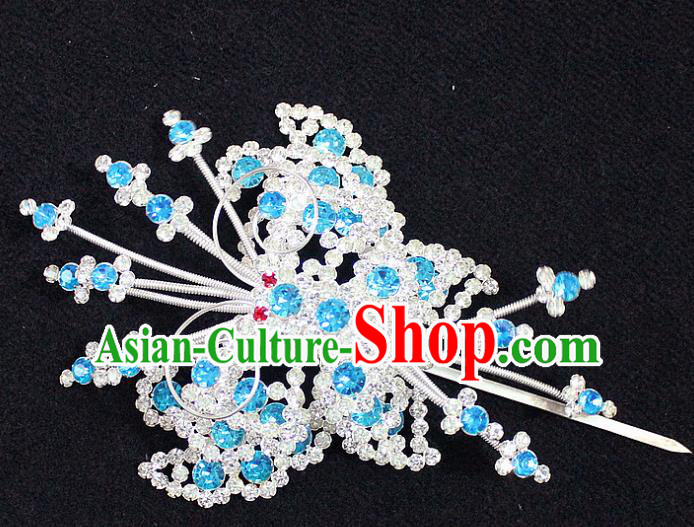 Traditional China Beijing Opera Young Lady Hair Accessories Tassel Step Shake, Ancient Chinese Peking Opera Hua Tan Headwear Diva Blue Crystal Empress Butterfly Hairpins