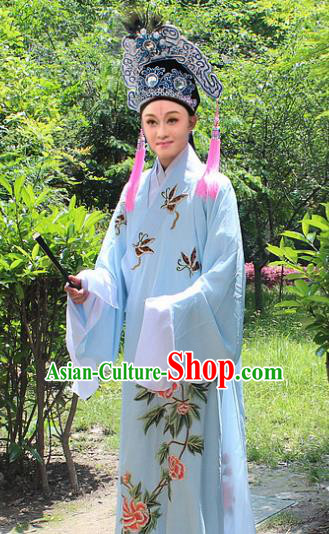 Traditional China Beijing Opera Young Men Costume and Hat, Ancient Chinese Peking Opera Niche Embroidery Blue Clothing