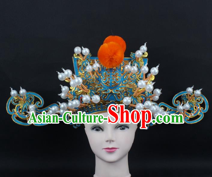 Traditional China Beijing Opera God of Wealth Hat, Ancient Chinese Peking Opera Men Headwear Prime Minister Hat