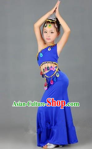 Traditional Chinese Dai Nationality Peacock Dance Costume, Folk Dance Ethnic Costume, Chinese Minority Nationality Dance Blue Dress for Kids