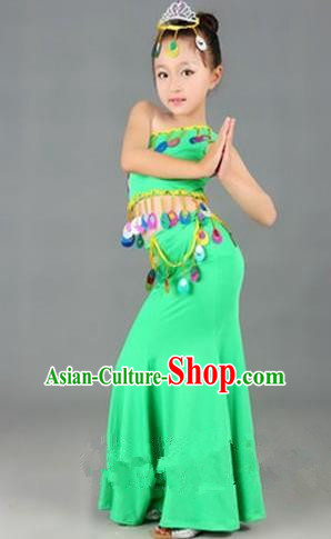 Traditional Chinese Dai Nationality Peacock Dance Costume, Folk Dance Ethnic Costume, Chinese Minority Nationality Dance Green Dress for Kids