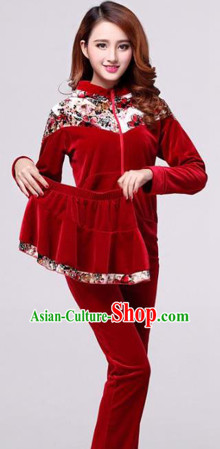 Traditional Chinese Classical Dance Yangge Fan Dance Red Pleuche Costume, Folk Dance Drum Dance Clothing Yangko Uniform for Women