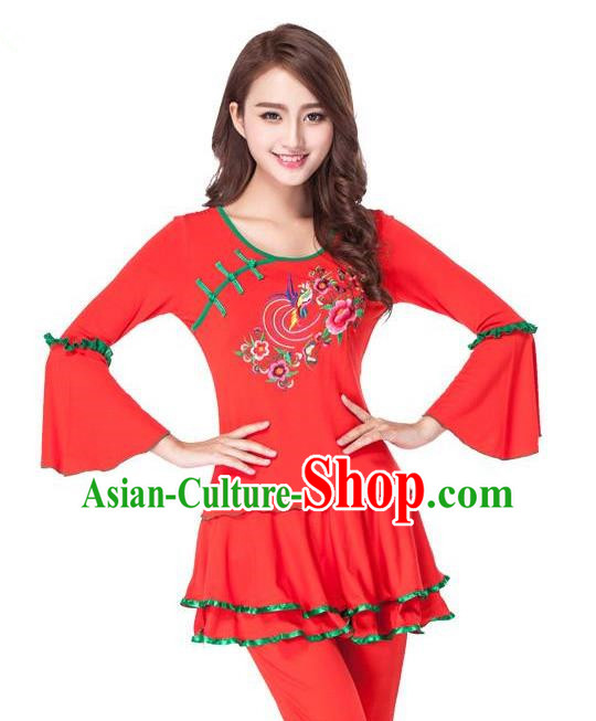 Traditional Chinese Classical Dance Yangge Fan Dance Red Embroidery Costume, Folk Dance Drum Dance Clothing Yangko Uniform for Women