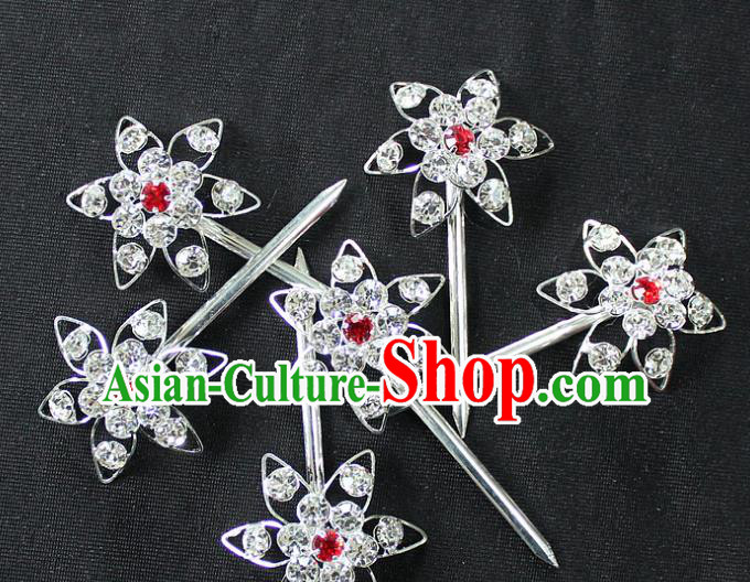 Traditional China Beijing Opera Young Lady Hair Accessories, Ancient Chinese Peking Opera Hua Tan Headwear Diva Crystal Hairpins