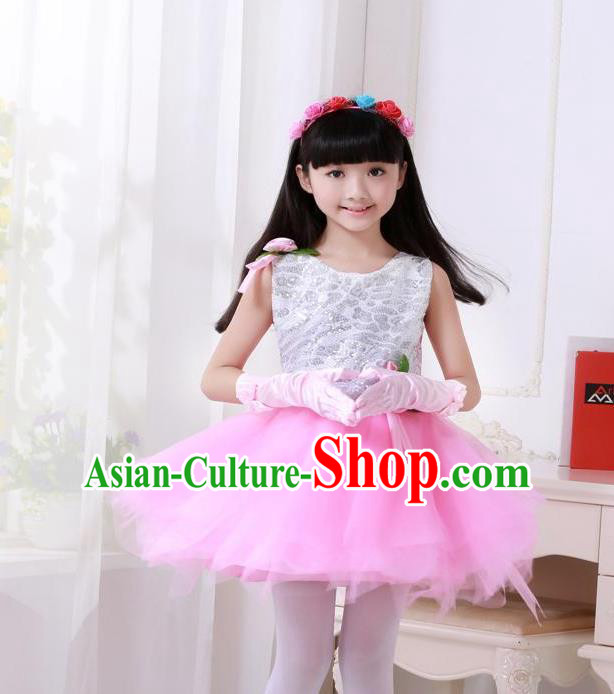 Top Grade Chinese Compere Professional Performance Catwalks Costume, Children Princess Pink Veil Bubble Full Dress Modern Dance Dress for Girls Kids
