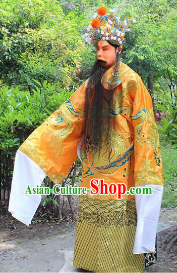 Traditional China Beijing Opera Costume Royal Highness Embroidered Robe and Headwear, Ancient Chinese Peking Opera Embroidery King Gwanbok Clothing