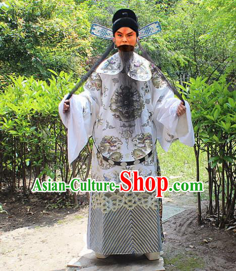 Traditional China Beijing Opera Old Men Costume General Embroidered Robe and Hat, Ancient Chinese Peking Opera Embroidery Gwanbok Clothing