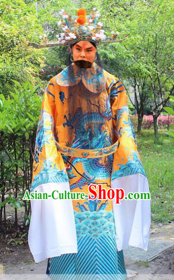 Traditional China Beijing Opera Niche Costume Emperor Embroidered Robe and Headwear, Ancient Chinese Peking Opera Embroidery King Gwanbok Clothing