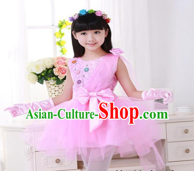 Top Grade Chinese Compere Professional Performance Catwalks Costume, Children Princess Pink Veil Bubble Dress Modern Dance Dress for Girls Kids