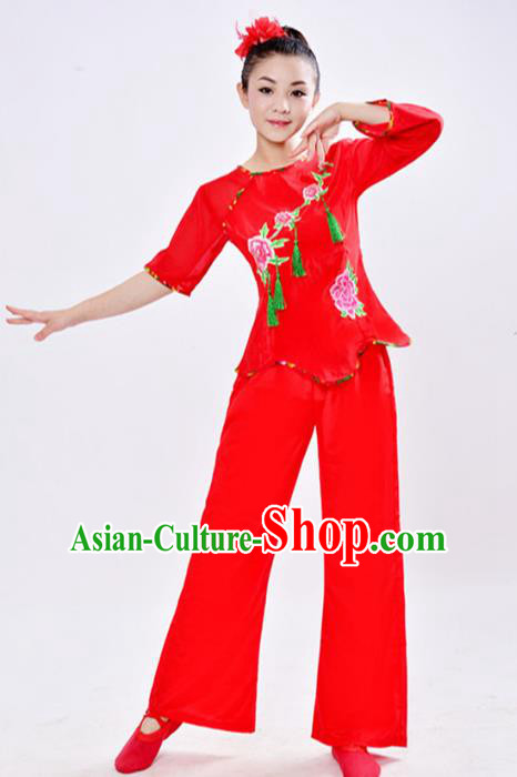 Traditional Chinese Classical Dance Yangge Fan Dance Embroidery Peony Costume, Folk Dance Drum Dance Clothing Yangko Uniform for Women