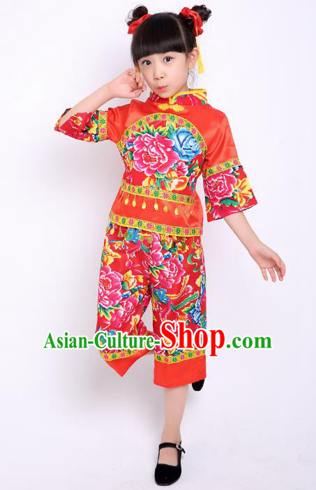 Traditional Chinese Classical Dance Yangge Fan Dance Printing Peony Red Costume, Folk Dance Waist Drum Dance Clothing Yangko Uniform for Kids