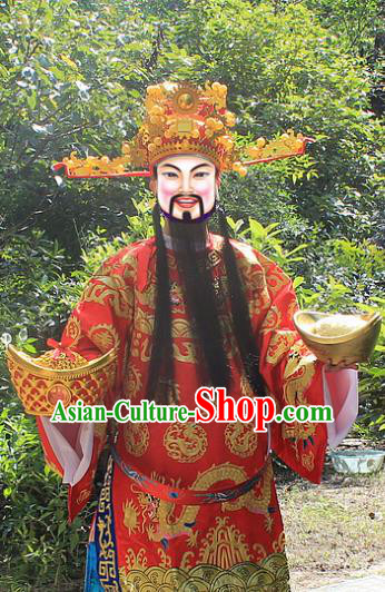 Traditional China Beijing Opera Top Grade Costume God of Wealth Embroidered Robe and Headwear Complete Set, Ancient Chinese Peking Opera Gwanbok Clothing