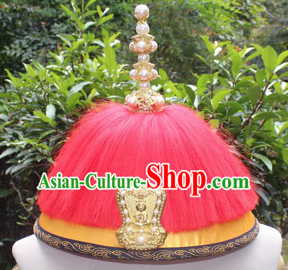 Traditional China Beijing Opera Emperor Hat, Ancient Chinese Peking Opera Qing Dynasty Manchu King Headwear