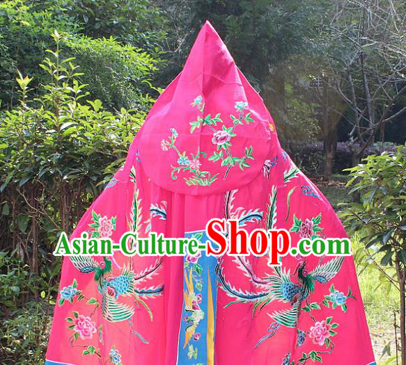 Traditional China Beijing Opera Young Lady Costume Diva Embroidered Phoenix Peach Pink Cloak, Ancient Chinese Peking Opera Hua Tan Embroidery Cape Clothing