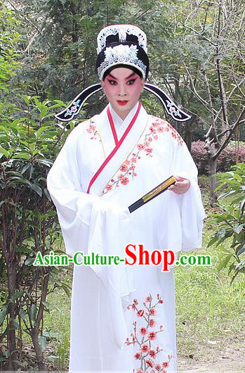Traditional China Beijing Opera Niche Costume Lang Scholar Embroidered Robe and Headwear, Ancient Chinese Peking Opera Embroidery Yellow Xiucai Gwanbok Clothing