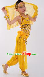 Traditional Indian Classical Dance Belly Dance Costume, India China Uyghur Nationality Dance Clothing Yellow Paillette Uniform for Kids