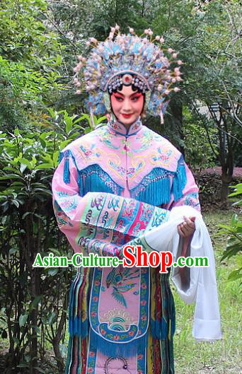 Traditional China Beijing Opera Young Lady Hua Tan Costume Imperial Concubine Pink Embroidered Robe and Headwear, Ancient Chinese Peking Opera Female Diva Embroidery Dress Clothing