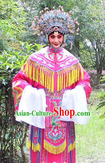 Traditional China Beijing Opera Palace Lady Hua Tan Costume Imperial Princess Embroidered Robe and Headwear, Ancient Chinese Peking Opera Female Diva Embroidery Dress Clothing