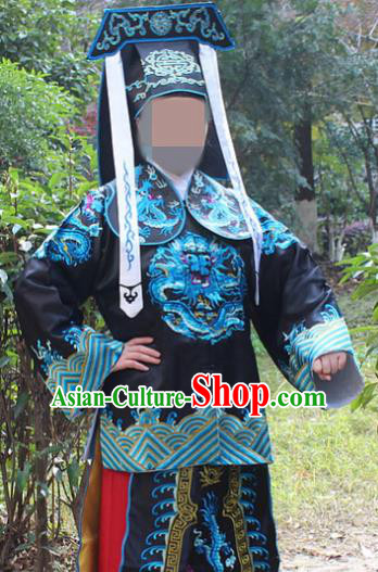 Traditional China Beijing Opera Takefu Costume Imperial Bodyguard Black Embroidered Robe and Hat, Ancient Chinese Peking Opera Embroidery Gwanbok Clothing