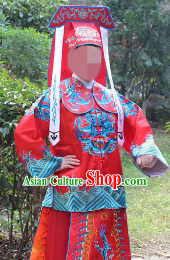 Traditional China Beijing Opera Takefu Costume Imperial Bodyguard Red Embroidered Robe and Hat, Ancient Chinese Peking Opera Embroidery Gwanbok Clothing