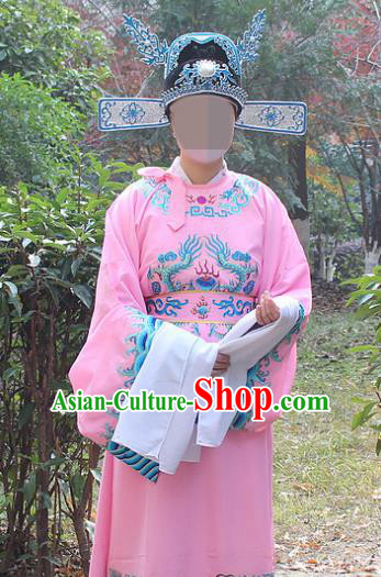 Traditional China Beijing Opera Niche Costume Lang Scholar Pink Embroidered Robe and Hat, Ancient Chinese Peking Opera Embroidery Emperor Son-in-law Gwanbok Clothing