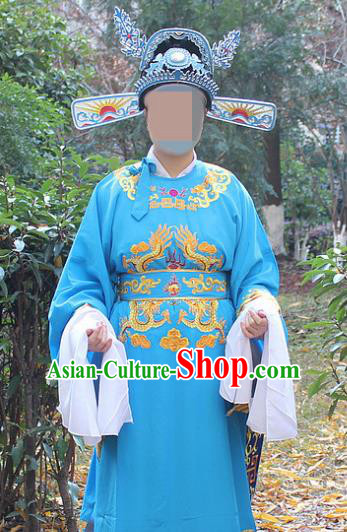 Traditional China Beijing Opera Niche Costume Lang Scholar Blue Embroidered Robe and Hat, Ancient Chinese Peking Opera Embroidery Emperor Son-in-law Gwanbok Clothing