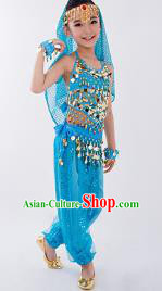 Traditional Indian Classical Dance Belly Dance Costume, India China Uyghur Nationality Dance Clothing Blue Paillette Uniform for Kids
