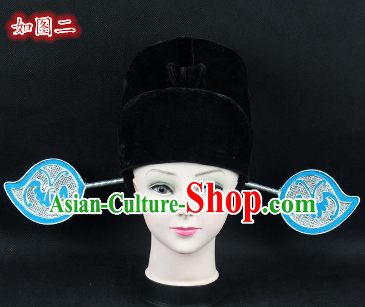 Traditional China Beijing Opera Young Men Hair Accessories Pierrot Hat, Ancient Chinese Peking Opera Magistrates Black Gauze Cap