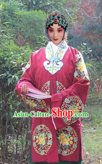 Traditional China Beijing Opera Old Women Costume Embroidered Shawl, Ancient Chinese Peking Opera Female Embroidery Dress Clothing