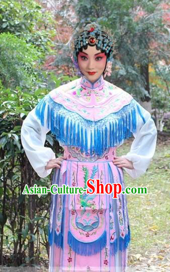 Traditional China Beijing Opera Hua Tan Costume Imperial Princess Embroidered Robe, Ancient Chinese Peking Opera Female Diva Embroidery Dress Pink Clothing