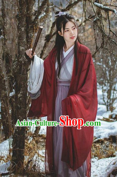 Traditional Ancient Chinese Swordswoman Costume Wide Sleeve Cardigan, Elegant Hanfu Clothing Chinese Jin Dynasty Imperial Princess Dress Clothing for Women