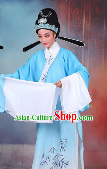 Traditional China Beijing Opera Niche Costume Lang Scholar Embroidered Robe, Ancient Chinese Peking Opera Embroidery Bamboo Clothing