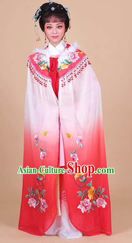 Traditional China Beijing Opera Young Lady Hua Tan Costume Female Peach Pink Embroidered Cloak, Ancient Chinese Peking Opera Diva Embroidery Mantle Clothing